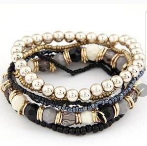 7 Layered Black Bracelets